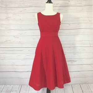 J Crew Red Cotton Sleeveless Fit & Flare Dress 2